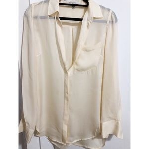 J.Crew size 6 cream 100% silk button down blouse
